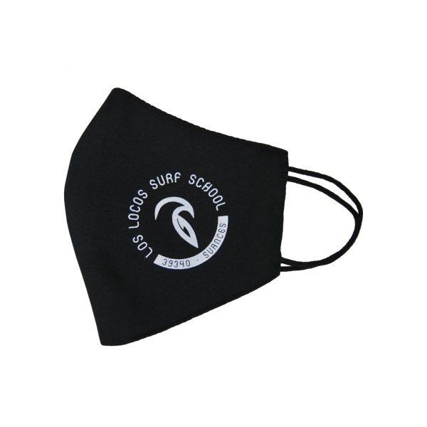 mascarilla negra logo blanco